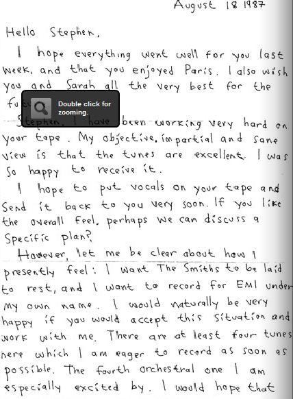 the smiths解散后,Morrissey写给Stephen Street的邀约信