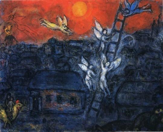图例3 马克·夏加尔 (Marc Chagall) 《雅各的天梯》
