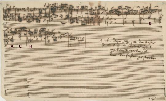 谱例3:《赋格的艺术》最后一页手稿;结尾处为其子C·P·E巴赫的注文