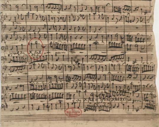 谱例6:《我愿背负我的十字架》(Ich will den Kreuzstab gerne tragen,BWV 56)手稿第18小节