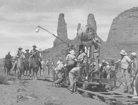 Filming Stagecoach near Three Sisters